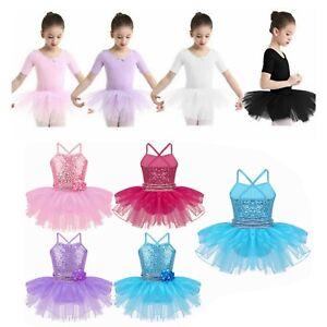 Kids Girls Ballet Dancewear Dress Child Leotard Tutu Skirt Costumes Gymnastics