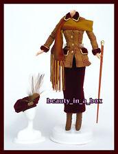 Stylish Autumn Burgundy Velvet Ensemble Fashion for Barbie Doll