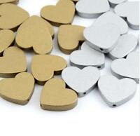 40pcs Wooden Heart Spacer Beads Necklace Crafts Wood Bead Gold/Silver 23mm