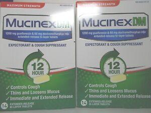 Mucinex DM 28 tab 1200 mg guaifenesin 60 mg dextromethorphan 12hr 8/22+ sealed