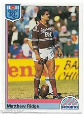 1992 NSW Rugby League REGINA Base Card (85) Matthew RIDGE Sea Eagles