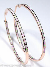 Pink Fire Opal Inlay Rose Gold over 925 Sterling Silver Hoop Earrings 2'' (53mm)