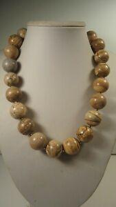 Lee Sands 20mm Picture Jasper Round Bead Necklace Adj. length Handmade Hawaii