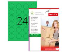 TANEX TW-2140 Kennzeichnungsetiketten Ø 40 mm grün, 600 Etiketten, 25 Blatt