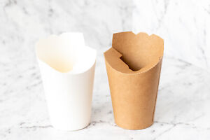 10x Cardboard Paper Cup Kraft White 6x11x8cm Party Container Popcorn Chips Lolly