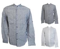 Herren Leinenhemd Freizeithemd Langarm Gestreift Blau Grau Weiß Gr. S M L XL XXL