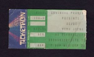 1985 AC/DC Malmsteen concert ticket stub Dayton OH Fly On The Wall Tour