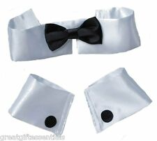 COLLAR BOW TIE CUFF SET Costume Male Stripper Chippendale Playboy Bunny Black