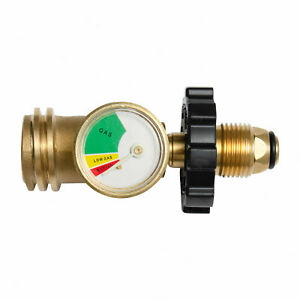Propane Tank Adapter Convert POL / ACME / QCC Fitting Brass with Gas Gauge