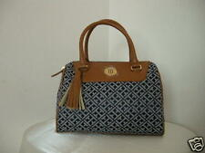 Authentic Tommy Hilfiger Tassle Women Satchel Bag Purse Handbag Navy Cognac