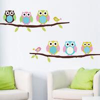 Removable Sticker Decor Vinyl Art Wall Decals Owl Birds Branch Kids Baby Room