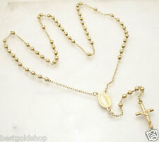 """4mm 24"""" Mens All Shiny Bead Ball Rosary Necklace Chain Real 14K Yellow Gold"""