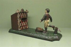 "Cast Iron ""FOOTBALL BANK"" Mechanical Bank Original Antique Toy"