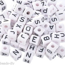 100 Mixed Cubic Acrylic Letter/ Alphabet Beads 10x10mm