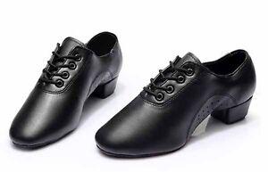 Man Boy Ballroom Tango Latin Dance Dancing Shoes heeled Salsa dancing shoes