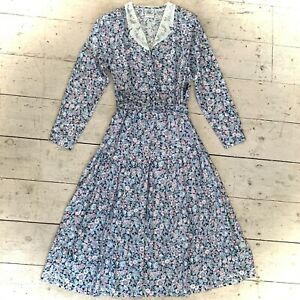 Vintage 1980's Classic Belted Laura Ashley Shirt Dress Size 10