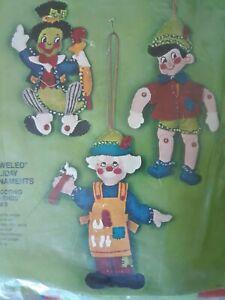 Vtg Bucilla Christmas Pinocchio Jeweled Tree Ornaments Kit 2826 MCM 1977