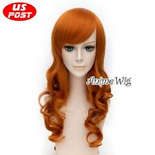 70CM Anime BLEACH Rangiku Matsumoto Long Curly Orange Hair Women Cosplay Wig
