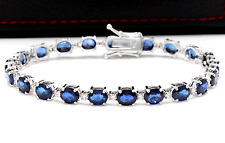 16.24Ct Natural Blue Sapphire & Diamond 14K Solid White Gold Bracelet