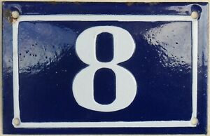Old blue French house number 8 door gate plate plaque enamel metal sign c1950