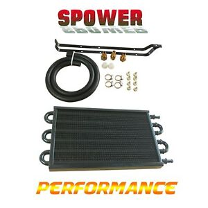 Black 6ROW Remote Transmission Oil Cooler Radiator Converter Manual To Automatic