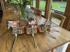 More details for vintage set 7 graduating copper and brass cooking/sauce pans and kettle