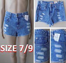 NWT$36 Mudd: Acid Wash High Waist Distressed Denim Jean Shorts Size 7/9