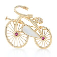 Yellow Gold Mother of Pearl, Ruby, & Diamond Bicycle Brooch 18k .28ctw Bike Pin
