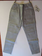 Womens Leather Pants Size 10T Tall Metro Style Collection Silver