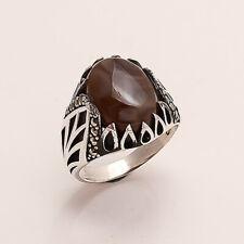 Natural Yemeni Aqeeq Mens Ring Ottoman Istanbul Handmade Wedding Jewelry Gift AA