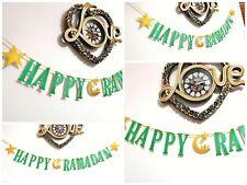 Happy RAMADAN Eid decorations Bunting Banner gold and green glitter Handmade 2m