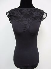Bebe Top Shirt Lace Shoulder Stretch Nylon Black Women's Size S NWT