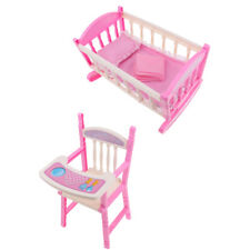 Lifelike Baby Doll Cradle Bed & Dining High Chair for Reborn Doll Furniture