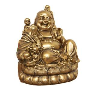 Matt Bronze Gold Large Sitting Laughing Happy Fat Buddha Cherubs Gift Ornament