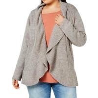 Karen Scott Cardigan Sweater Plus Size 1X Open Front Cocoon Beige New