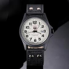 Vintage Mens Sport Watch Classic Waterproof Date Leather Quartz Army Wrist Watch