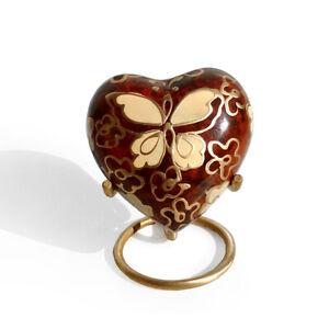 Golden Butterfly Small Heart Keepsake Memorial Urn For Human Ashes