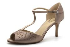 Debut Danielle Womens UK 5 Taupe Satin Diamante Embellished T Bar Peep Toe Shoes
