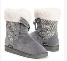 Women's Boots 7 Lace Up Mukluks Warm Ankle Winter Gray