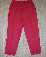 Classiques Entier Women's 14 Red Silk & Linen Blend Single Pleated Pants - Lined