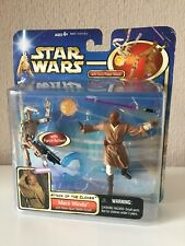 MACE WINDU WITH BLAST-APART BATTLE DROID (WHITE) - STAR WARS - AOTC - 2002