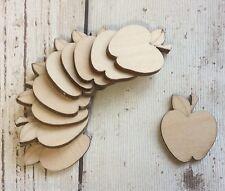 10 laser cut wooden mini tiny apples unpainted embellishments