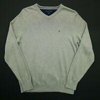 Tommy Hilfiger Mens  Pullover XS  Grey Cotton Sweater Jumper Knit V-Neck