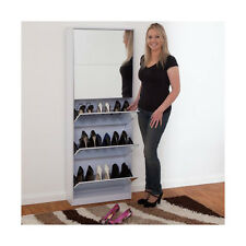 NEW Mirrored Shoe Cabinet Rack Mirror Storage Organiser 5 Drawer White 25 Pairs