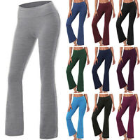 High Waist Yoga Pants Womens Workout Stretch Wide Flare Leg Bootcut Gym Leggings