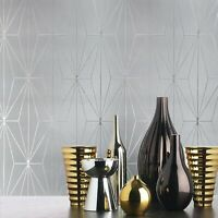 Diamond Triangle Geometric lines modern wallpaper Gray Silver Metallic Textured