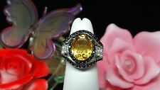 Brazilian Citrine, White Topaz, Thai Black Spinel 925 SS Ring Size 5