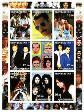 Queen 2002 Kyrgrzstan Non-Perforated Stamp Sheet; Cartoon Faces; Costumes