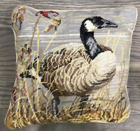Vintage Needlepoint Pillow Featuring A Duck * Handmade * Mostly Neutral Colors