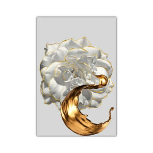 White Rose Gold Edge Flower Canvas Painting Posters Modern Wall Art Home Decor